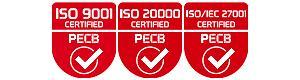 ISO 9001 Certified PECB ISO 20000 Certified PECB ISO/IEC 27001 Certified PECB